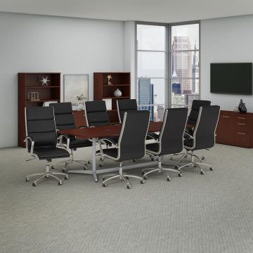 96W x 42D Boat Shaped Conference Table with 8 Chairs