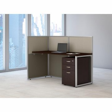 60W Desk with 45H Open Cubicle Panel and File Cabinet