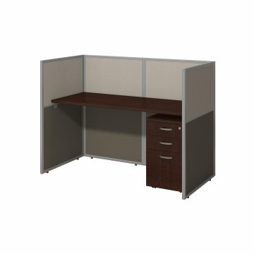60W Desk with 45H Closed Cubicle Panel and File Cabinet