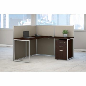 60W L Shaped Desk with 45H Cubicle Panel and File Cabinet