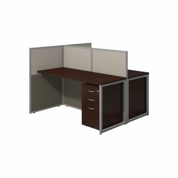 60W 2 Person Desk with 45H Cubicle Panel and File Cabinets