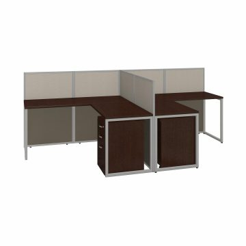 60W 2 Person L Desk with 45H Cubicle Panel and Drawers