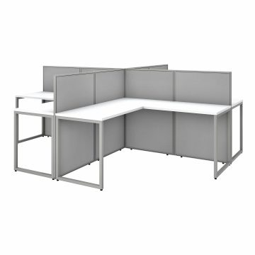 60W 4 Person L Shaped Desk with 45H Cubicle Panel
