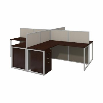 60W 4 Person L Desk with 45H Cubicle Panel and Drawers