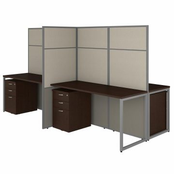 60W 4 Person Desk with 66H Cubicle Panel and File Cabinets