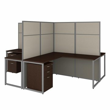60W 4 Person L Desk with 66H Cubicle Panel and Drawers