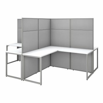 60W 4 Person L Shaped Desk with 66H Cubicle Panel