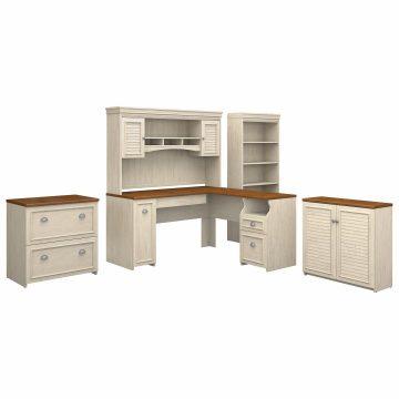 60W L Shaped Desk with Hutch, File Cabinet, Bookcase and Storage