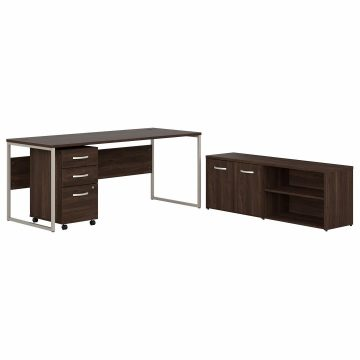 72W x 30D Computer Table Desk with Storage and Mobile File Cabinet