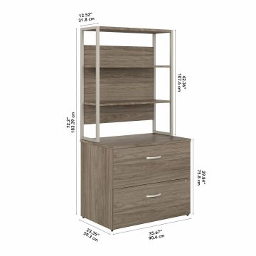 2 Drawer Lateral File Cabinet with Shelves
