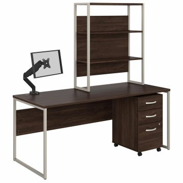 72W x 30D Desk with Hutch, Mobile File Cabinet and Monitor Arm