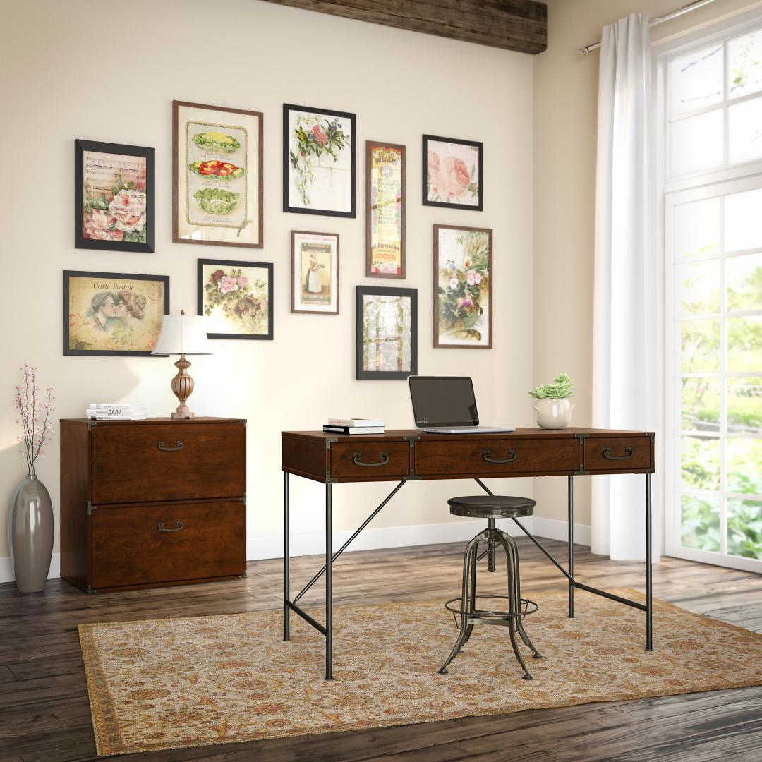 48W Writing Desk and Lateral File Cabinet