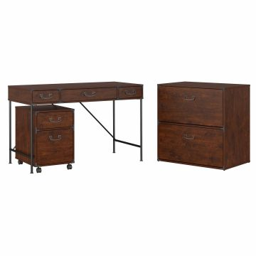 48W Writing Desk, 2 Drawer Mobile Pedestal, and Lateral File Cabinet