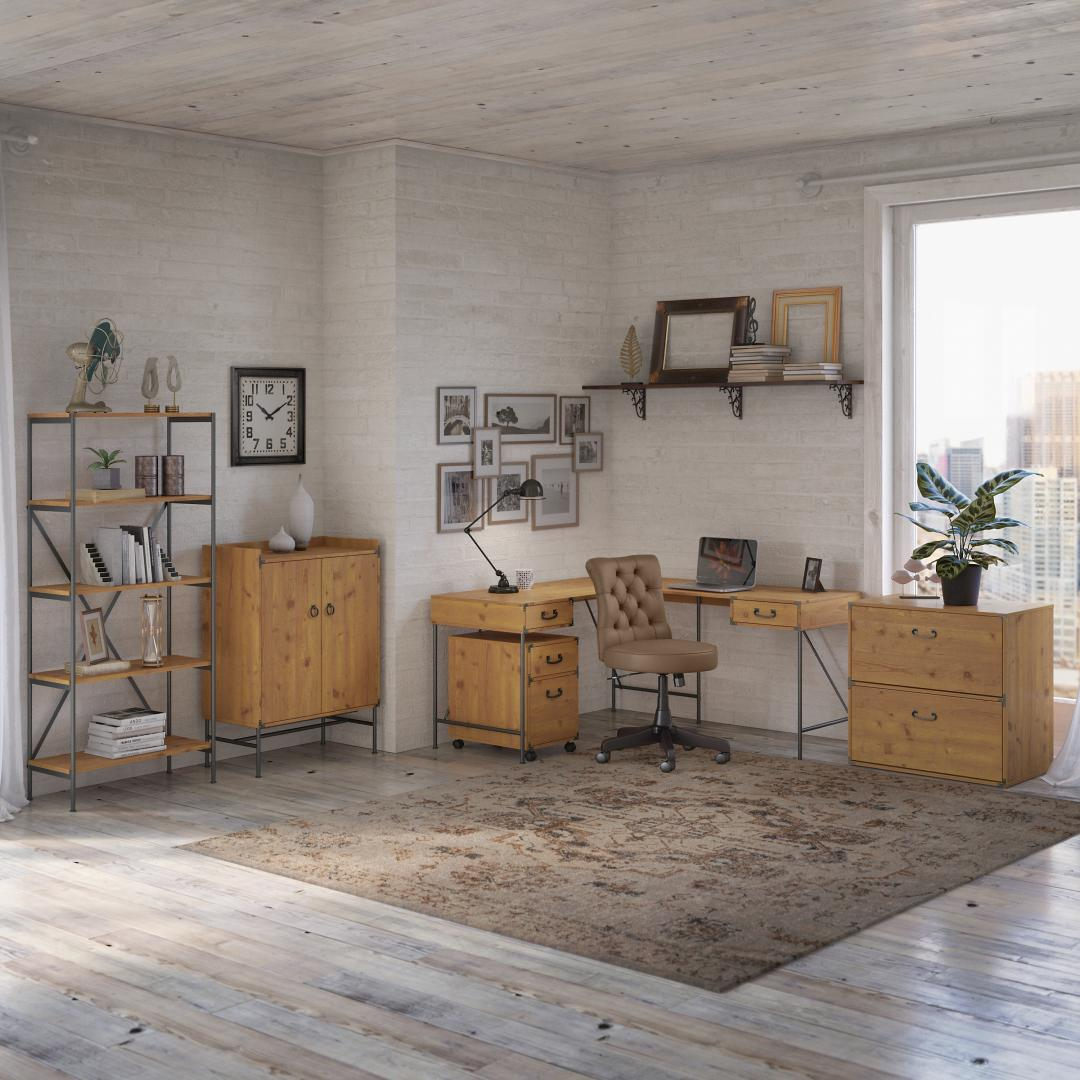 60W L Shaped Writing Desk with Drawers