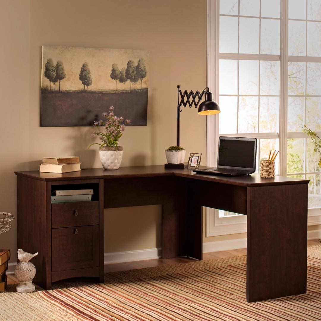 60W L Shaped Desk with Drawers