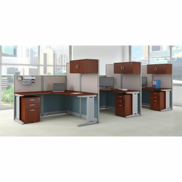 3 Person L Shaped Cubicle Workstations