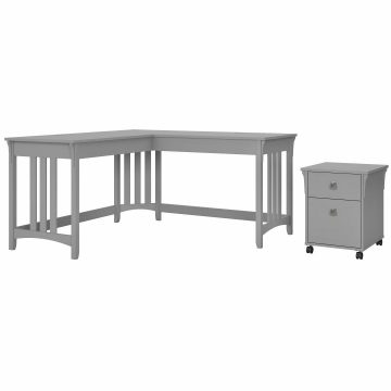 60W L Shaped Writing Desk with Mobile File Cabinet