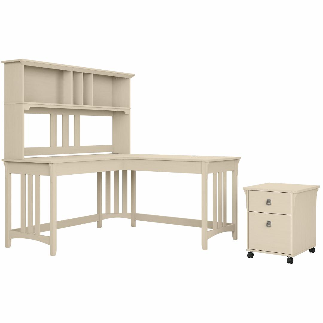 60W L Shaped Writing Desk with Hutch and Mobile File Cabinet