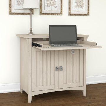 Secretary Desk with Keyboard Tray and Storage Cabinet