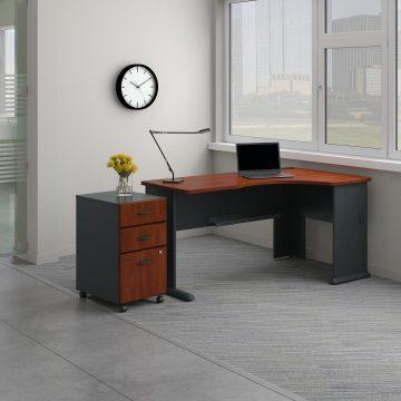 Right Corner Desk with Mobile File Cabinet