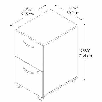 2 Drawer Mobile File Cabinet - Assembled