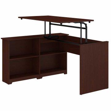 52W 3 Position Sit to Stand Corner Bookshelf Desk