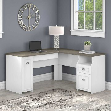 60W L Shaped Desk with Drawers and Storage Cabinet