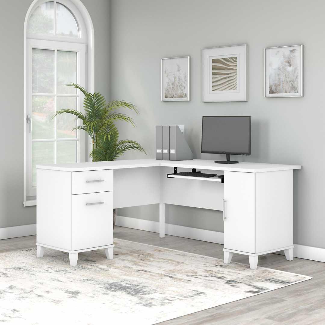 60W L Shaped Desk with Storage