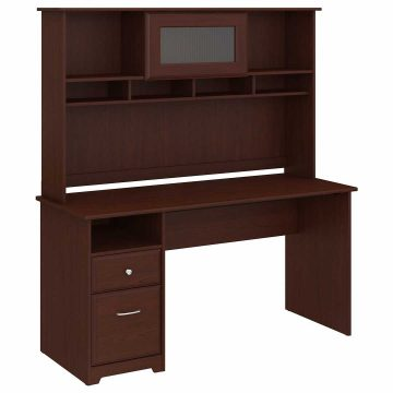 60W Computer Desk with Hutch and Drawers