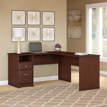 60W L Shaped Computer Desk with Drawers