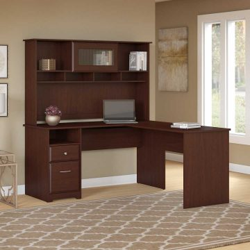 60W L Shaped Computer Desk with Hutch and Drawers