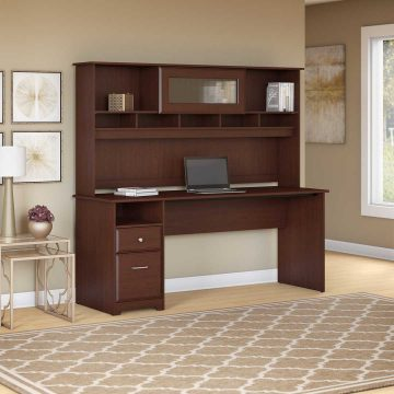 72W Computer Desk with Hutch and Drawers