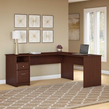 72W L Shaped Computer Desk with Drawers
