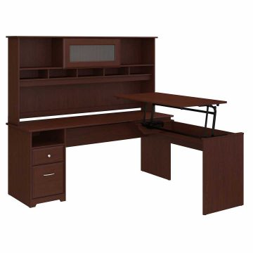 72W 3 Position L Shaped Sit to Stand Desk with Hutch