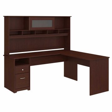 72W L Shaped Computer Desk with Hutch and Drawers