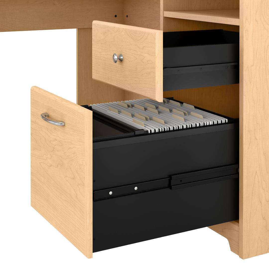 60W L Shaped Computer Desk with Mid Back Leather Box Chair