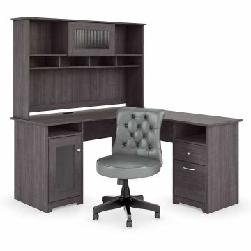 60W L Shaped Desk with Hutch and Mid Back Tufted Office Chair