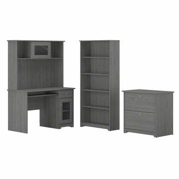 48W Small Computer Desk with Hutch, Lateral File Cabinet and Bookcase
