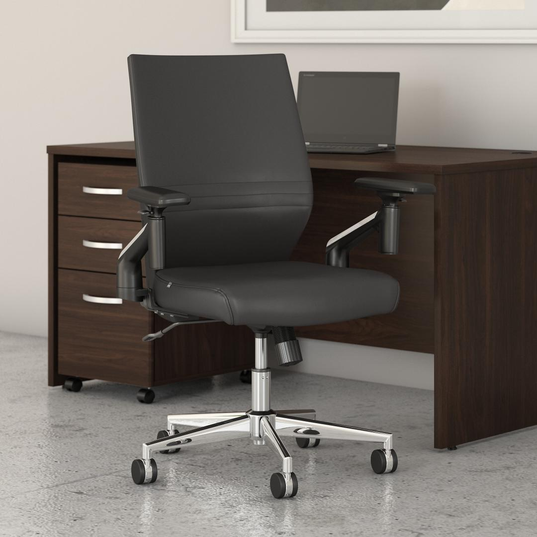 Mid Back Leather Office Chair