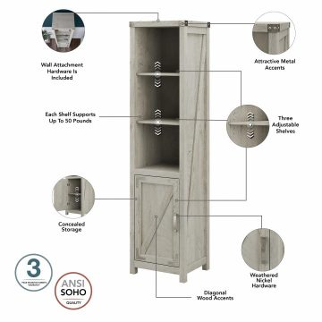 Tall Narrow 5 Shelf Bookcase with Door