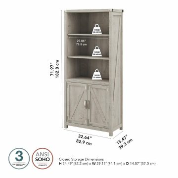 Tall 5 Shelf Bookcase with Doors