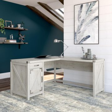 60W L Shaped Desk with Drawer and Storage Cabinet