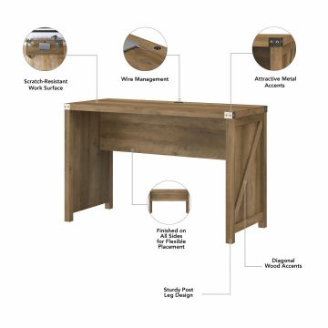 48W Farmhouse Writing Desk with 2 Drawer Lateral File Cabinet