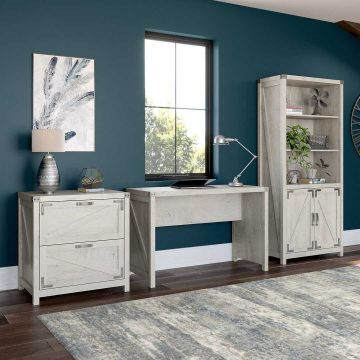 48W Farmhouse Writing Desk with Lateral File Cabinet and 5 Shelf Bookcase