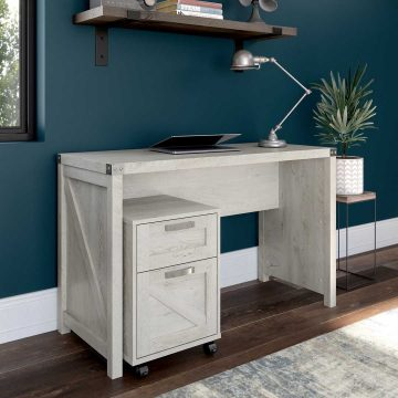 48W Farmhouse Writing Desk with 2 Drawer Mobile File Cabinet