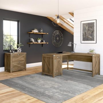 60W L Shaped Desk with 2 Drawer Lateral File Cabinet