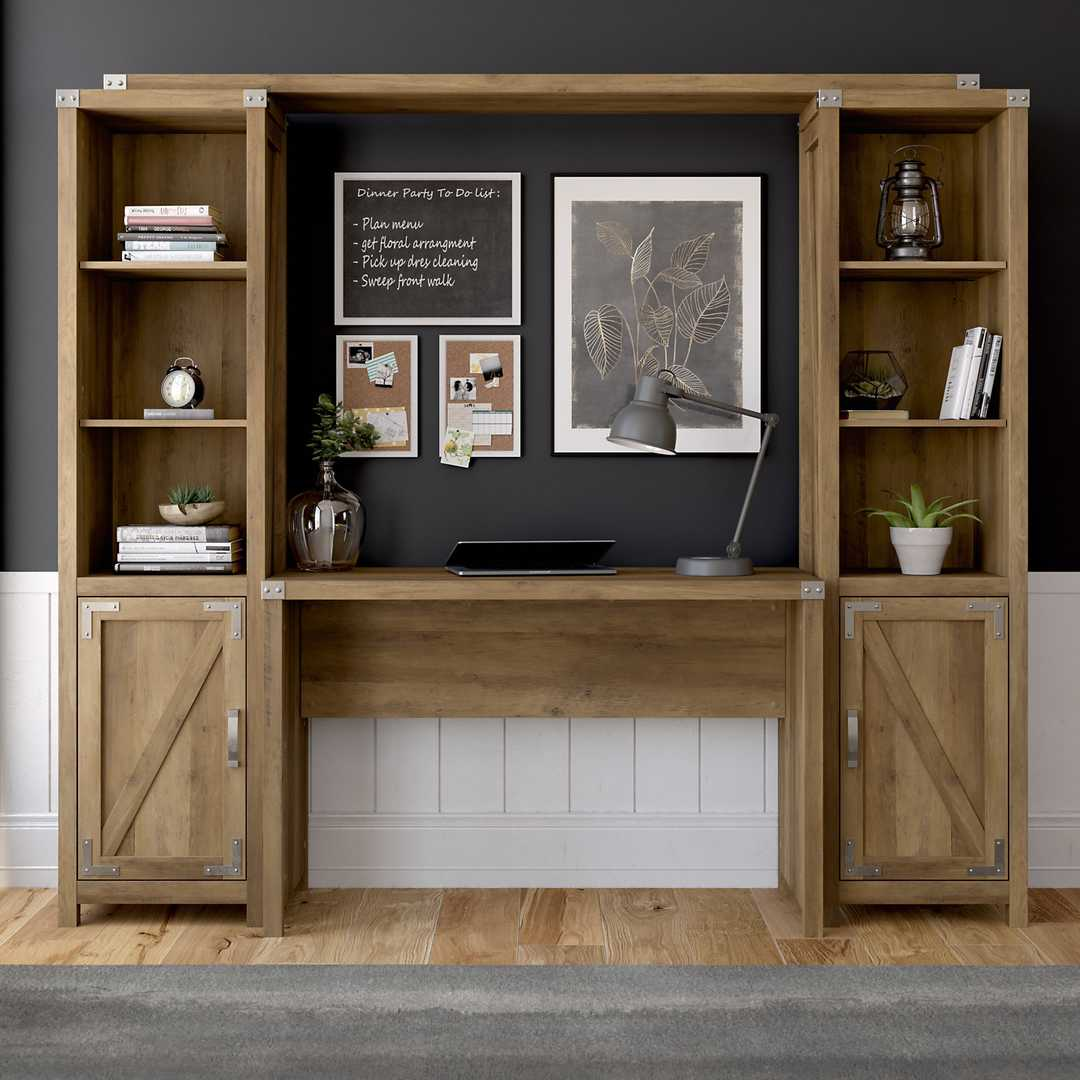 48W Farmhouse Writing Desk with Bookshelves