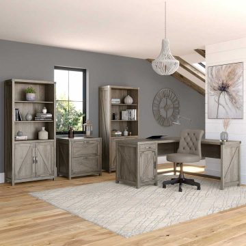 60W L Shaped Desk with Chair, File Cabinet and Bookcases