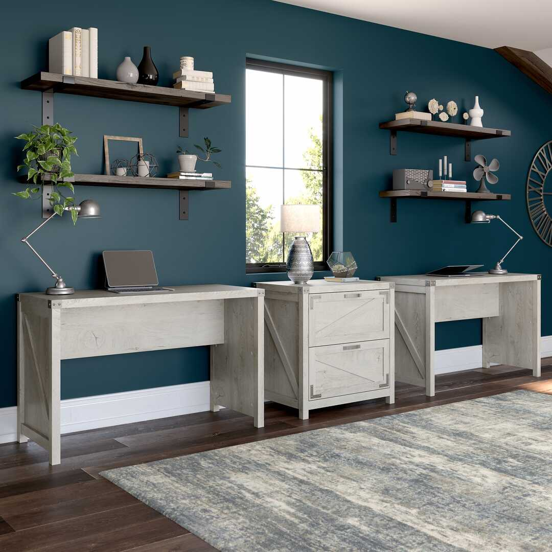 2 Person Farmhouse Desk Set with Lateral File Cabinet