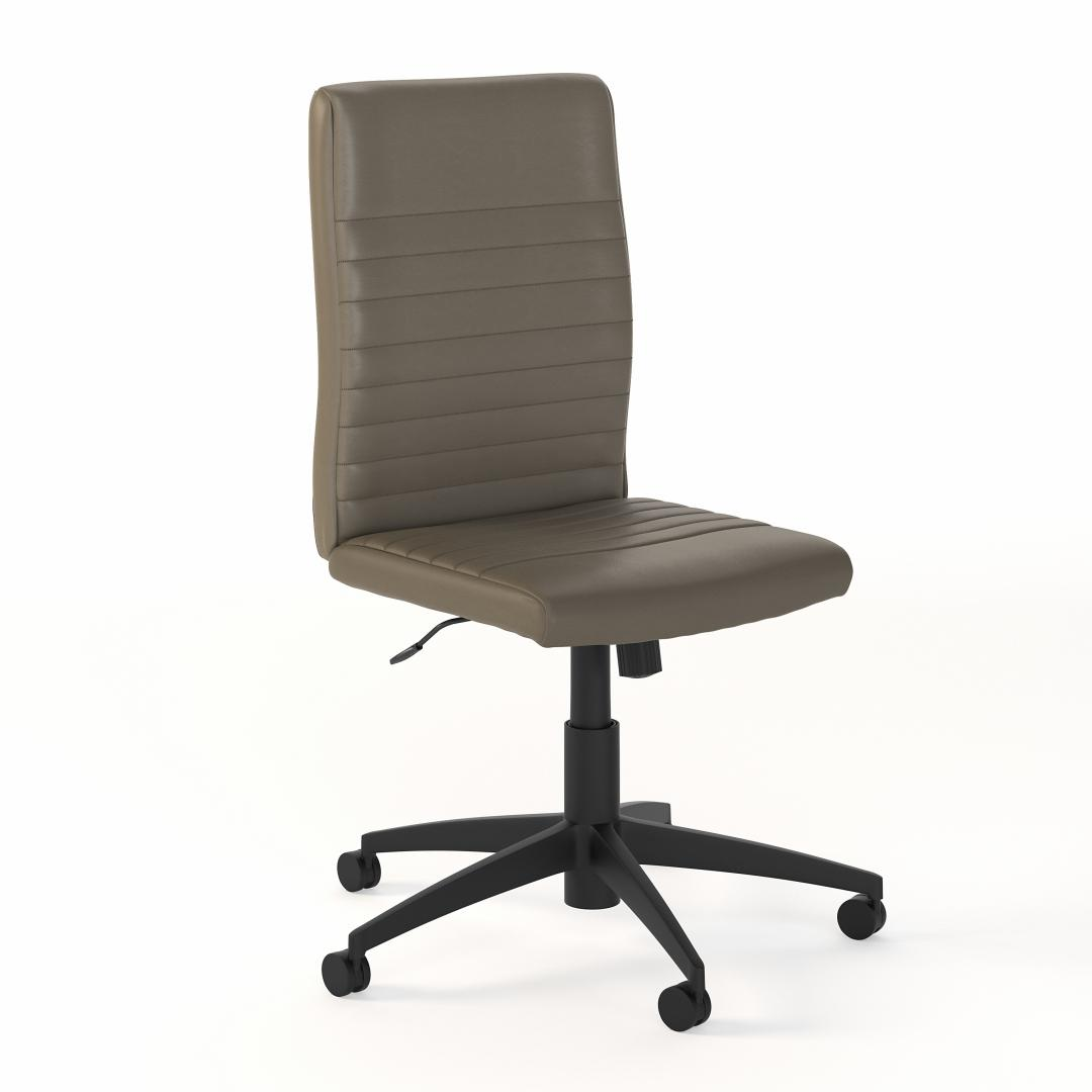 Mid Back Ribbed Leather Office Chair